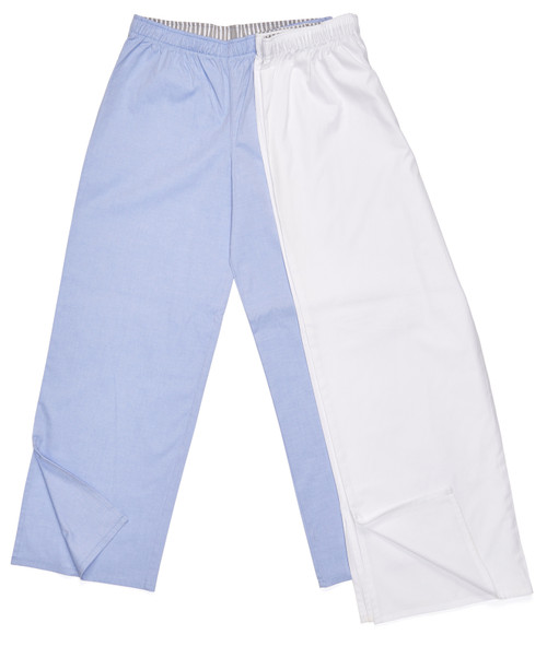 The Pajama Pant: Solid Color Options Left: Light Blue Oxford. Right: Crisp White Pinpoint.