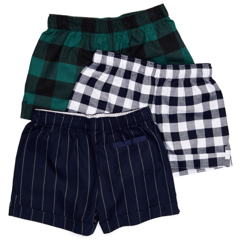 The Flannel Boxer: Checks + Stripes are available in three patterns: Top: Hunter Buffalo Check Middle: Dress Blues Check Bottom: Blue Suit Stripe