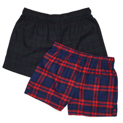 The Flannel Boxer: Plaids  Top: Black Watch Plaid Bottom: Blue + Red Plaid