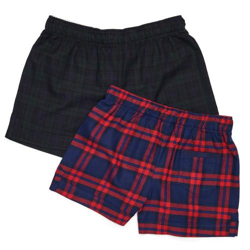 The Flannel Boxer: Plaids  Top: Black Watch Plaid Bottom: Blue + Red Plaid