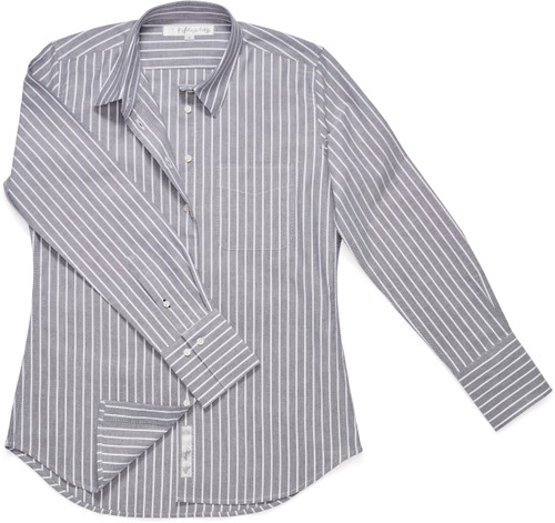 Our fitted-style Ivy Shirt is rendered in an oxford cloth we're calling Ash Gray Stripe.