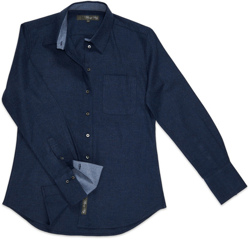 Our Ivy Melange is available in a two-toned French blue flannel, with the underside of its collar and cuffs lined in a lighter blue hue.