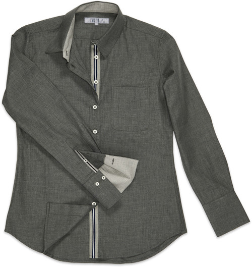 Our Ribbon Trimmed Ivy ... Version 2 is created with a soft poplin fabric in a hue we call silvered gray. The front button and sleeve plackets are each covered with a gray-white-and navy-striped trim, seen when you unbutton either area.
