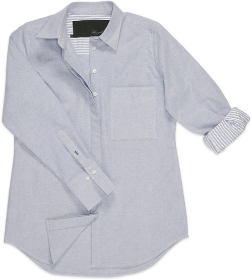 Roll up those sleeves and you'll discover each is lined with a striped blue-and-white fabric.