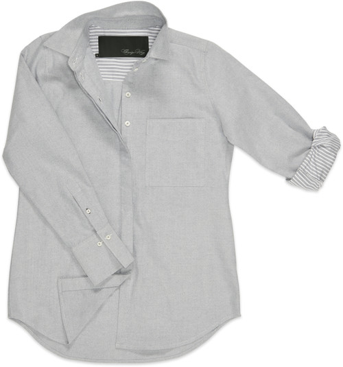 A fun detail: Each sleeve is lined with a coordinating gray-and-white stripe fabric.