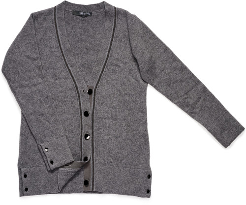 Our luxe Cashmere Cardigan features bronze buttons and gunmetal gray beaded trim around its neckline.