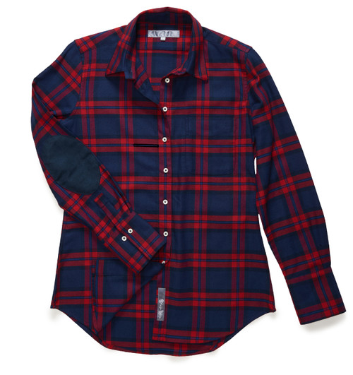 The Flannel Patch Ivy: Blue + Red Plaid Shirt is a fitted-style button-down. It features dark blue micro-suede elbow patches.