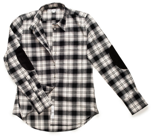 The Flannel Patch Ivy in Black + White Plaid is a fitted-style button-down with black elbow patches.