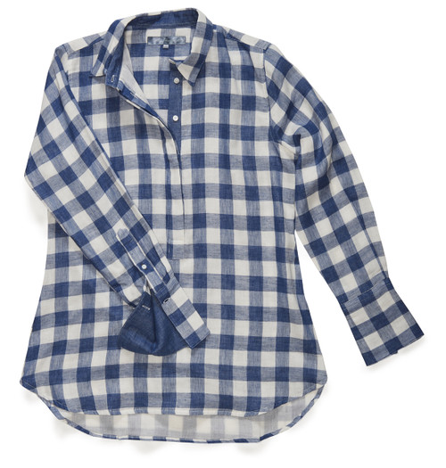 The Groove Popover in Cornflower Blue GIngham.