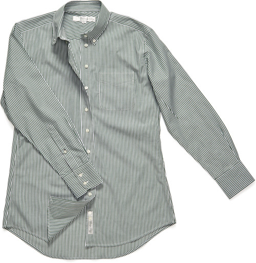 Our signature boyfriend-style shirt, The His is Hers is rendered this season in an olive pinstripe.