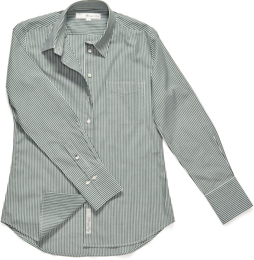 The Ivy is our colorful fitted shirt style. This season we brought it out in olive green pinstripe. A fall classic!