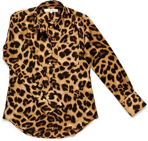 Our Ivy Leopard blouse is appointed with gold hammered buttons.