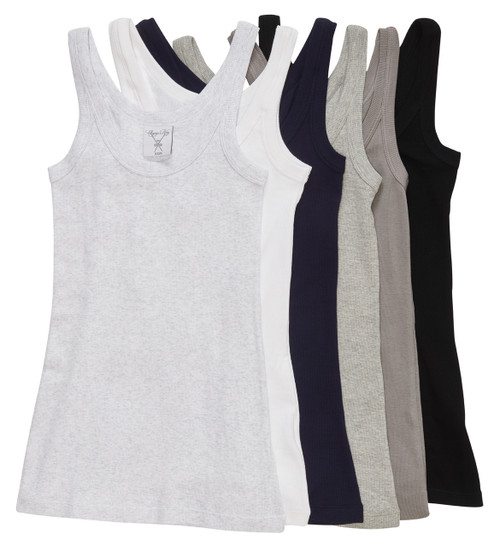 The Undershirt selection from left to right: Gray matter melange, white primer, dark blue, sterling gray melange, driftwood, and pitch-black.