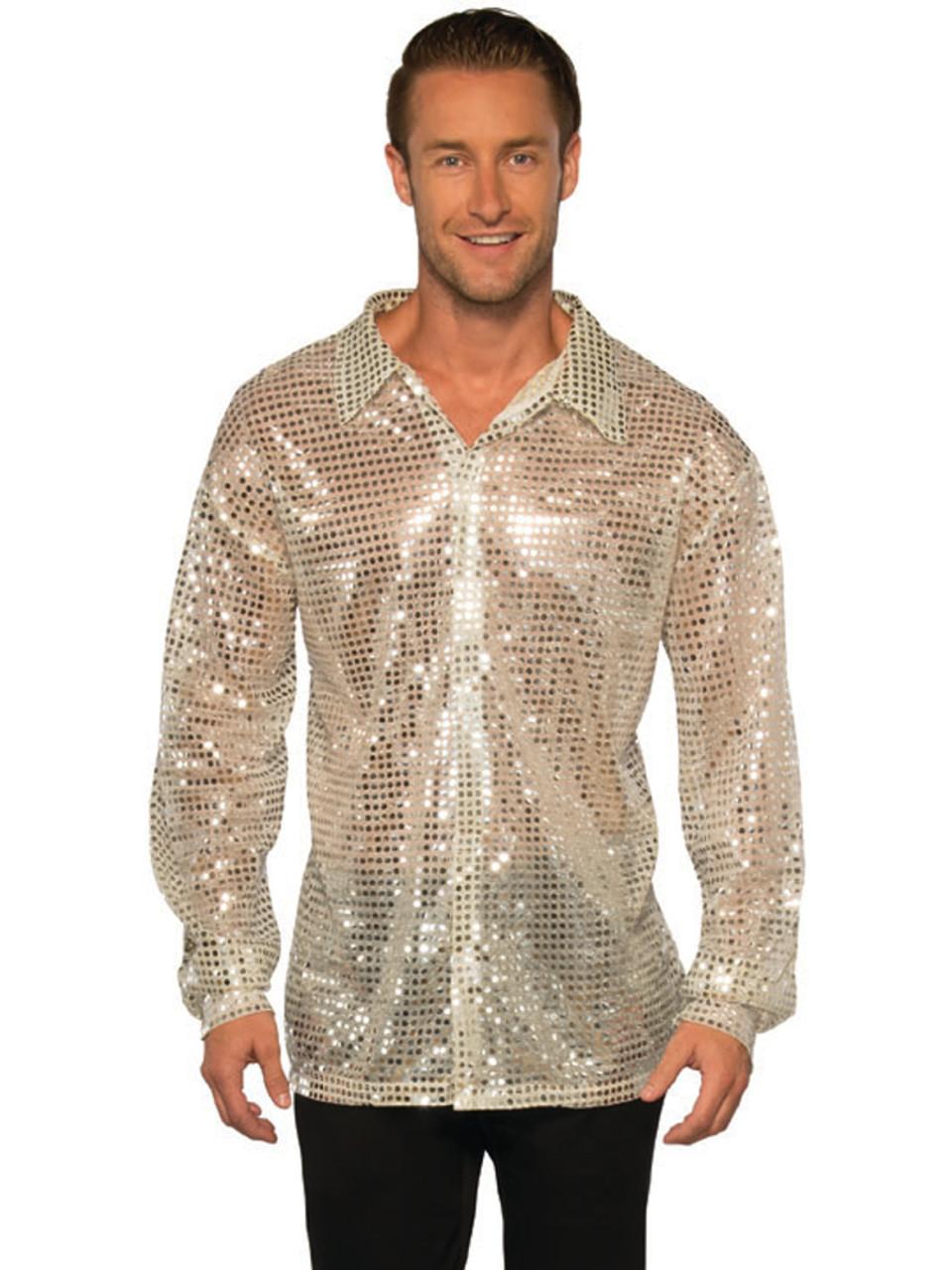 b7f3b0a4a930f4 Men's 70s Dancing King Silver Sequin Disco Shirt Costume