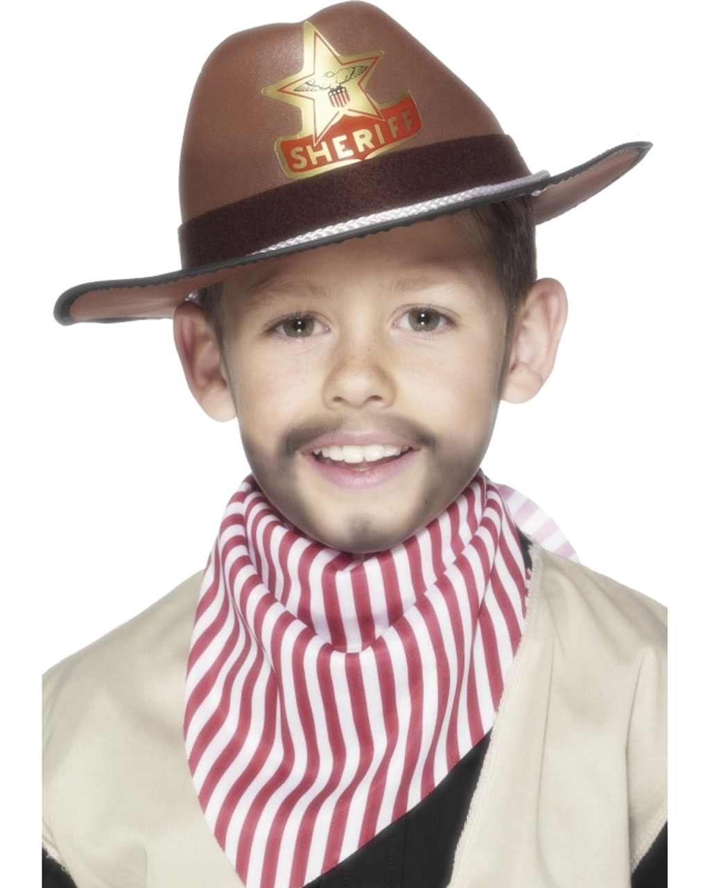 6909686cc Kid's Brown Western Sheriff Hat With Star