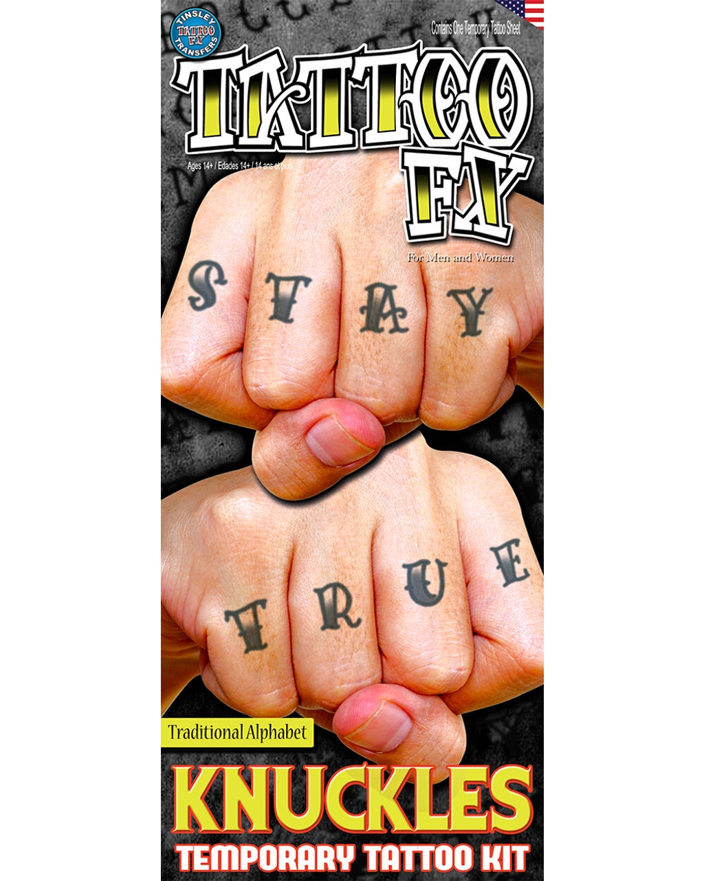 Traditional Alphabet Hand Knuckle Finger Tattoos