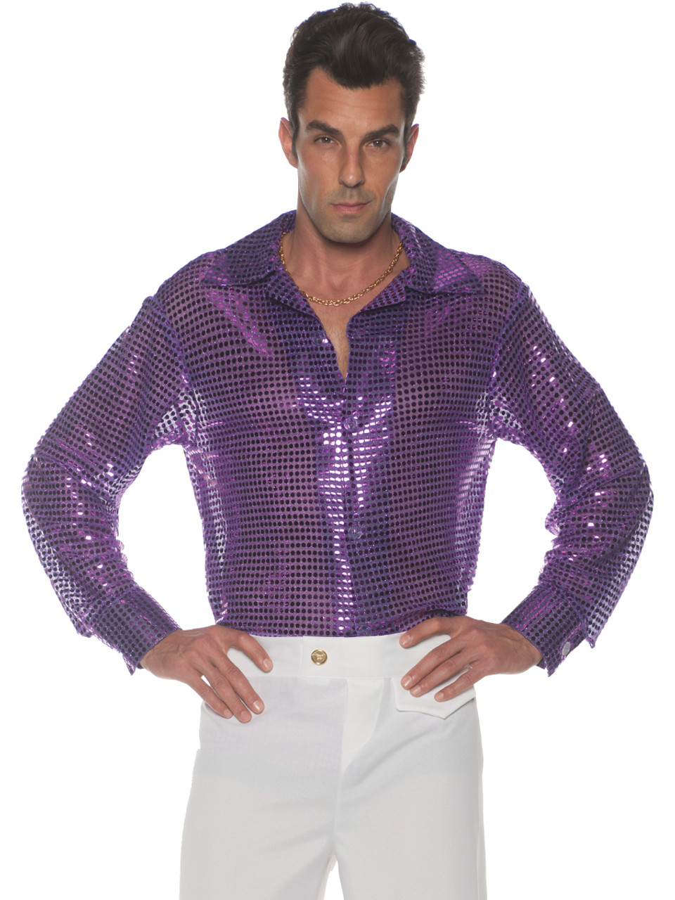 7a7b4a22 Men's 70s Purple Sequin Disco Costume Shirt