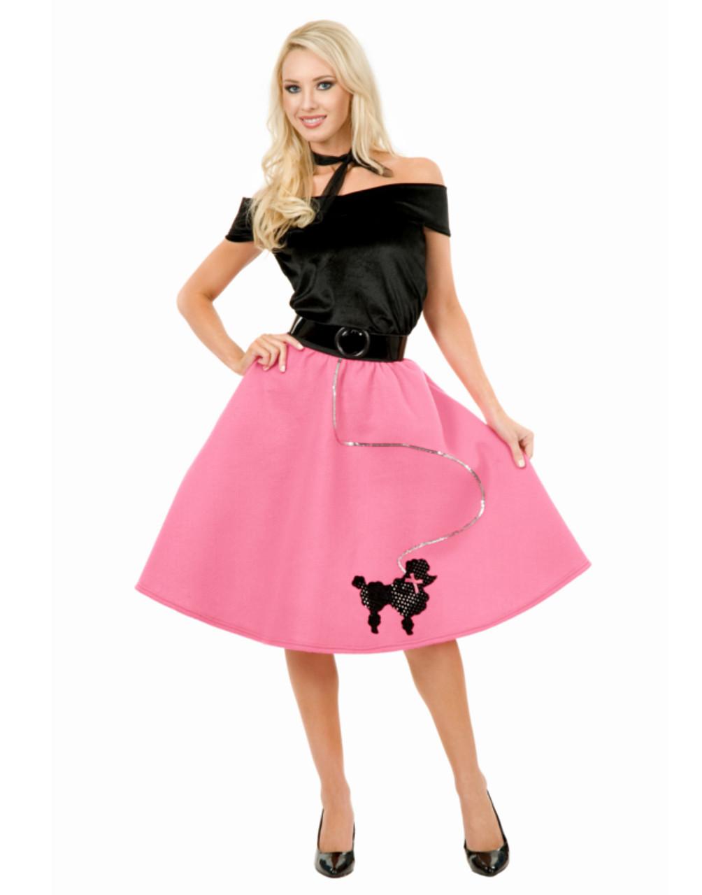 39b8a3f6729dc Womens Sexy Bubblegum Pink Poodle Skirt 50s Sock Hop Costume