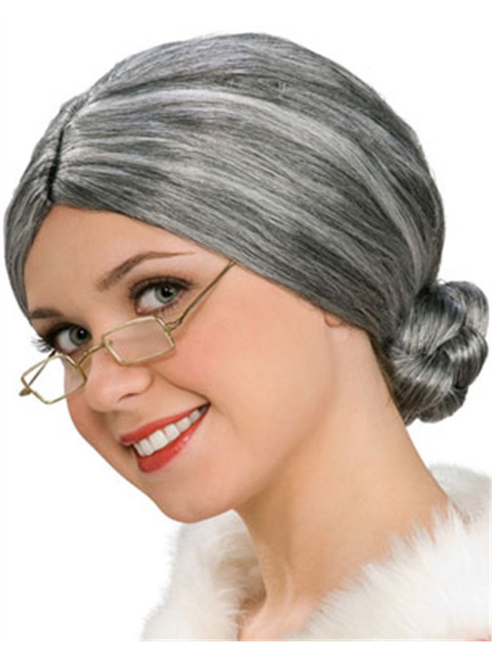Adult Little Old Lady Mrs Santa Claus Grey Costume Wig