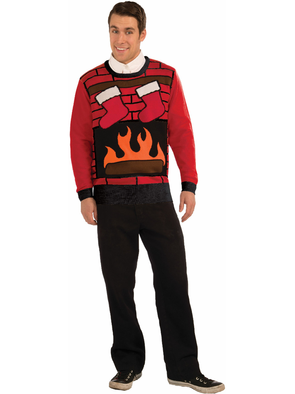 2 Person Christmas Sweater.Christmas Eve Fireplace Sweater