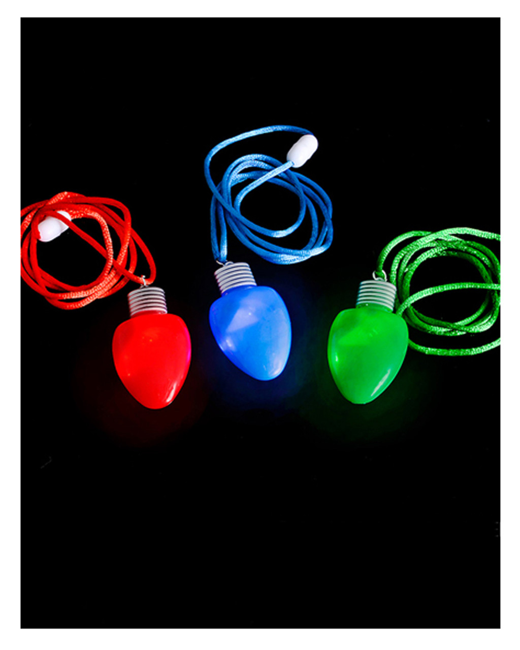 Christmas Light Necklace.Set Of 12 Flashing Christmas Bulb Pendant Lights Necklace