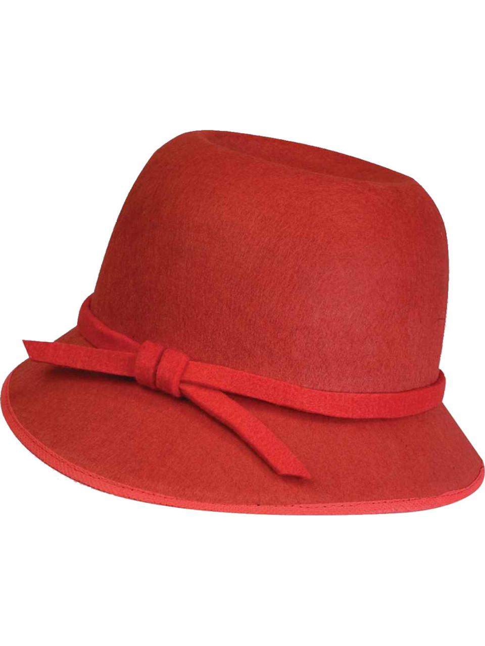 Deluxe Roaring 20s Metallic Red Flapper Girl Cloche Hat