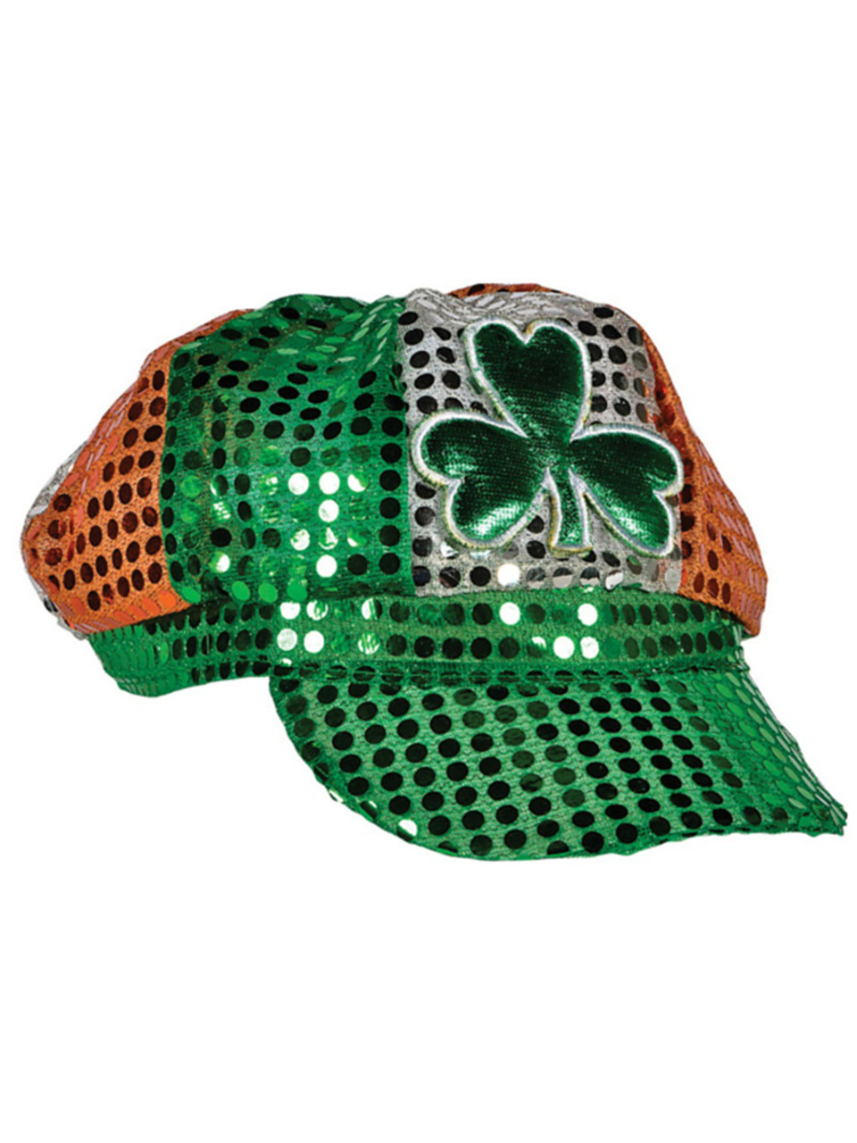 St  Patrick's Day Tri-Color Sequin Irish Shamrock Newsboy Hat