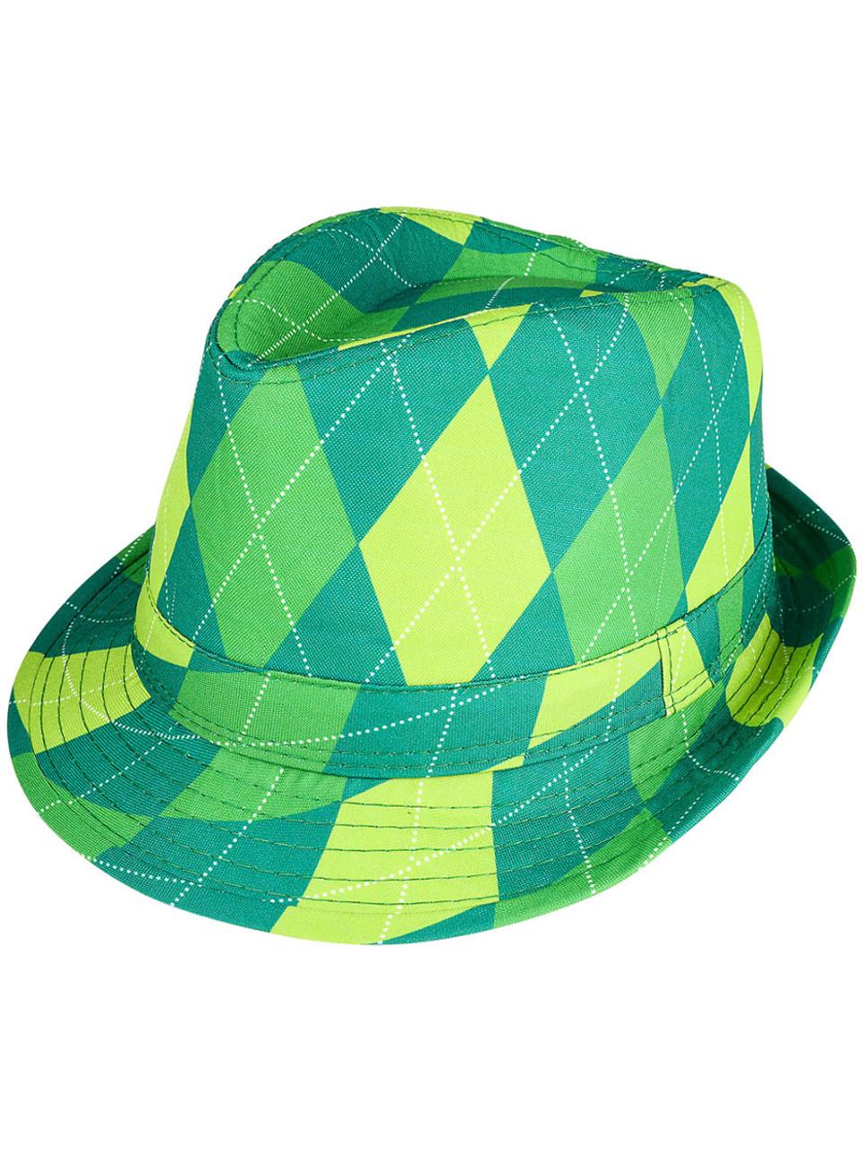 97d85f1d17250a Adults Saint Patrick's Day Gangster Irish Plaid Fedora Hat Costume Accessory