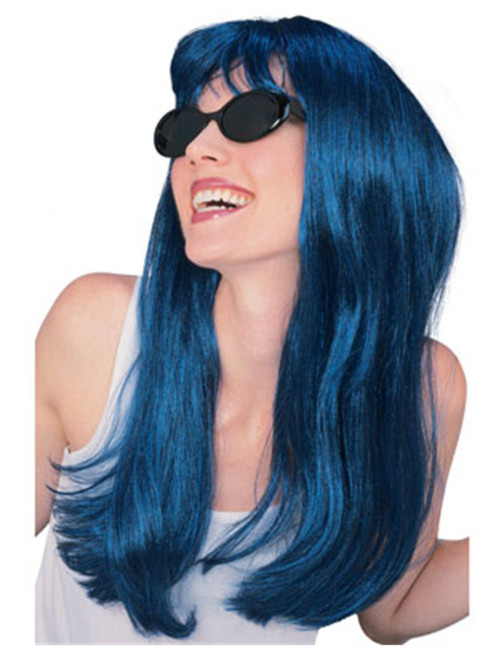 Womens 2-Tone Black and Blue Long Straight Costume Wig