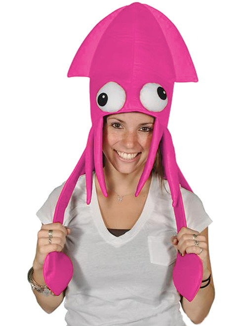 Novelty Pink Squid With Long Tentacles Party Hat Cap Costume Accessory