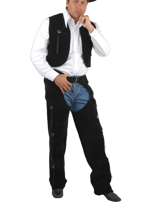 Western Faux Leather Chaps /& Vest Cowboy Costume Outfit Adult Men Brown Pleather