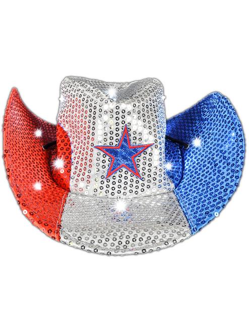 59e5aed8a Light Up Patriotic American Cowboy Hat