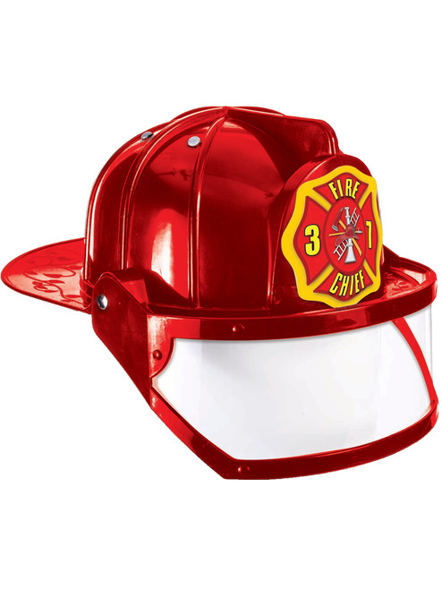 Deluxe Red Adult Fire Fighter Costume Hard Hat Helmet With Silver Badge