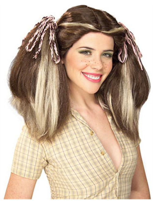 Brown Country Farm Girl Wig With Blonde Streaks And Pigtails
