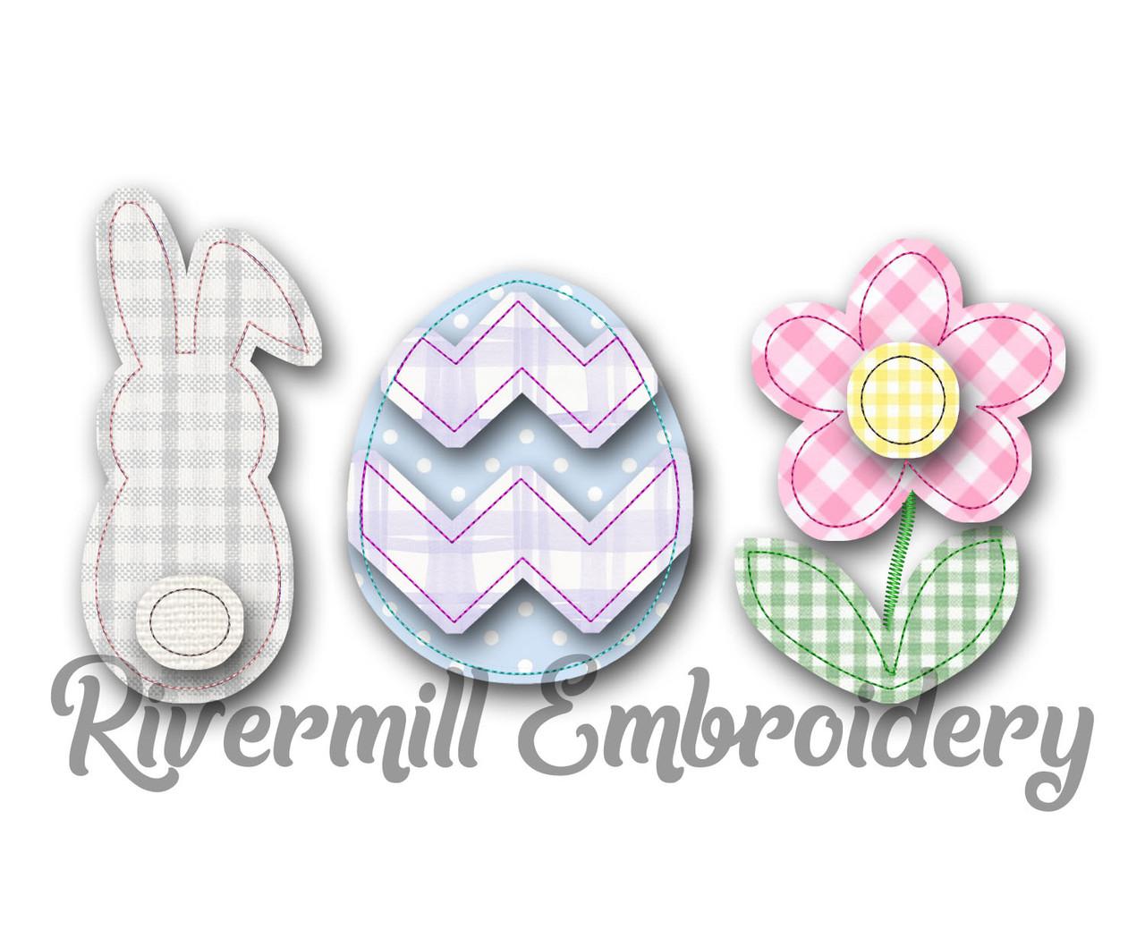 6 Sizes Machine Embroidery Design File Easter Egg Split Applique