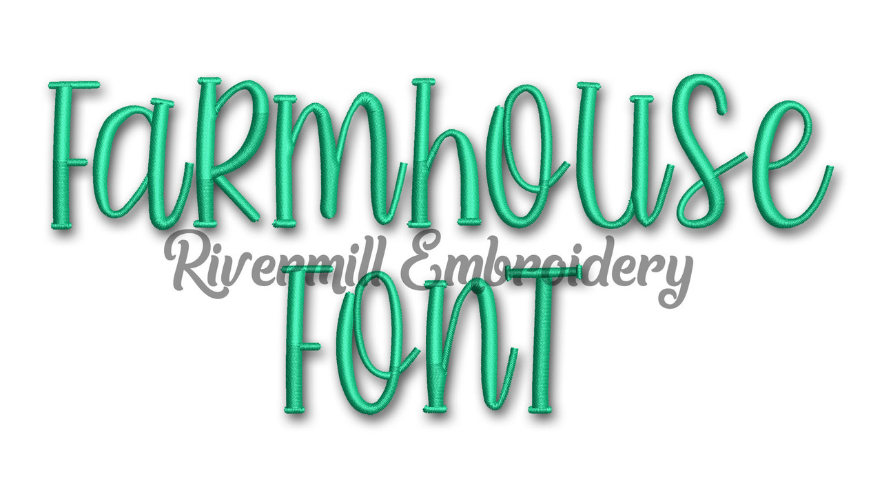 Farmhouse Font Machine Embroidery Font Alphabet Rivermill Embroidery