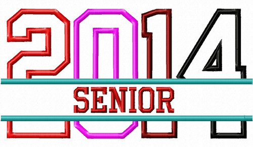 Split Senior 2014 Applique Machine Embroidery Design
