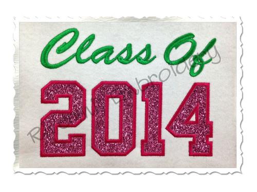 Class of 2014 Applique Machine Embroidery Design