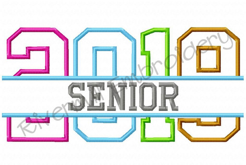 Split Senior 2019 Applique Machine Embroidery Design