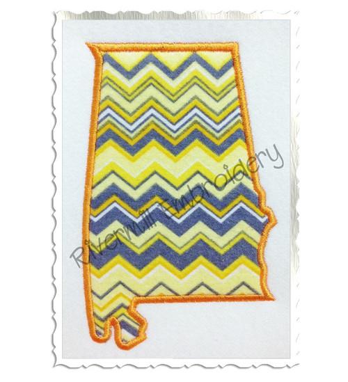 Applique State of Alabama Machine Embroidery Design