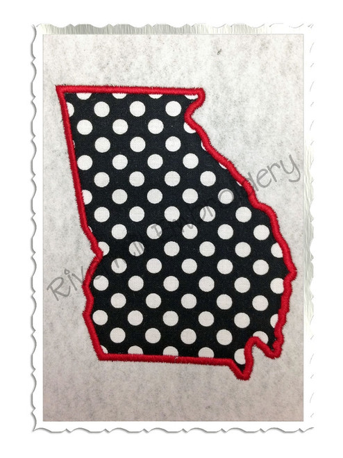 Applique State of Georgia Machine Embroidery Design