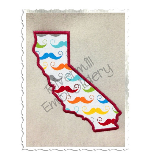 Applique State of California Machine Embroidery Design