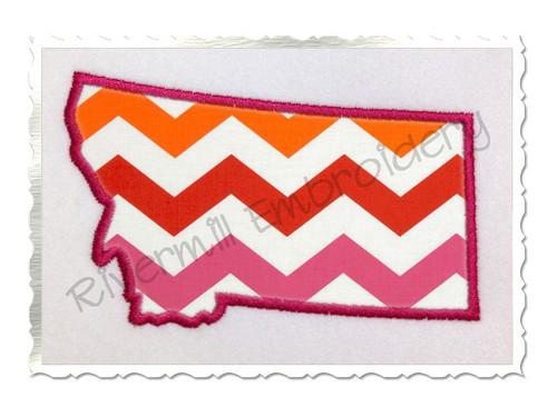 Applique State of Montana Machine Embroidery Design