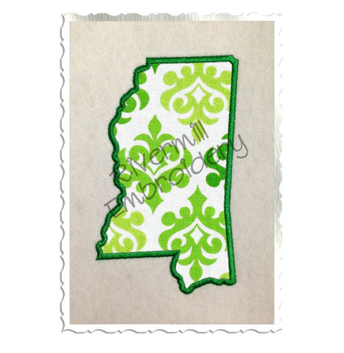 Applique State of Mississippi Machine Embroidery Design