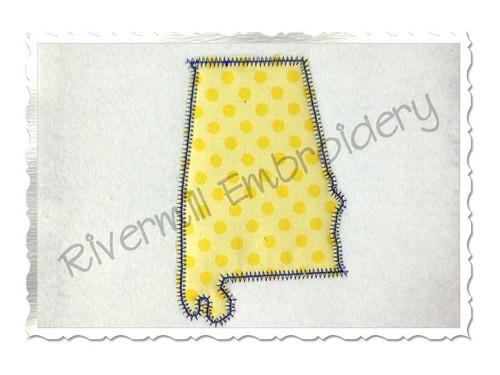Zig Zag Applique State of Alabama Machine Embroidery Design