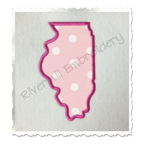 Applique State of Illinois Machine Embroidery Design