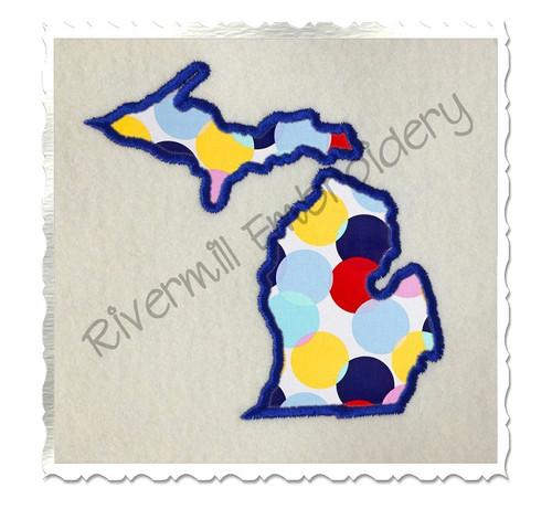 Applique State of Michigan Machine Embroidery Design