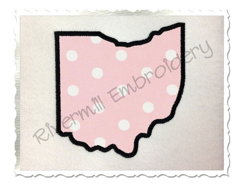 Applique State of Ohio Machine Embroidery Design