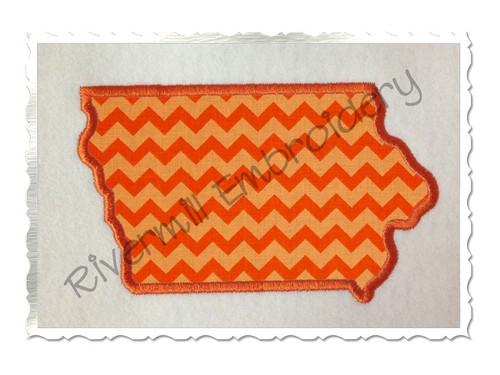 Applique State of Iowa Machine Embroidery Design