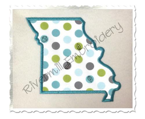 Applique State of Missouri Machine Embroidery Design